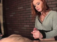 Ginger babe tugs dude but doesnt let him cum