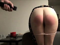 Naughty amateur girl bends over and enjoys a hard spanking