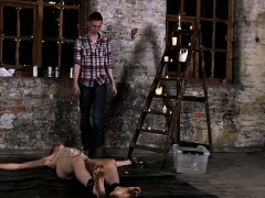 Twink movie of Chained to the warehouse floor and unable to