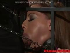 Caged slut deepthroats master and gets punished super hard BDSM