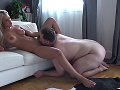 Blonde euro whore fucks with disgusting fat dude