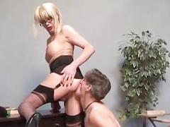 Sexy blonde tgirl teacher got fucked hard