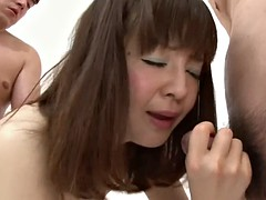 pale japanese ayu kawashima is filled with cum in gangbang