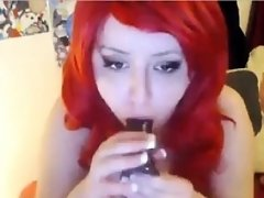 Fat And Horny Redhead Masturbating