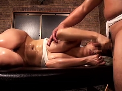 Enticing Asian wife with perky tits enjoys an erotic massage
