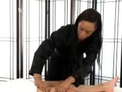 Sexy ebony masseuse spunk
