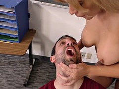 white boy jacks off with fleshlight as hot teacher ash lee fucks his bulky black coed