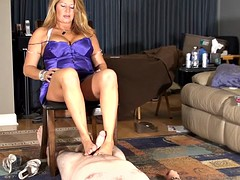 Step-mom gives cuck footjob slick