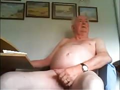 British dad stroking nice uncut cock on cam