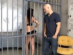 Horny slut in a jail cell fucks a big dick guy