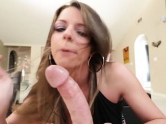 Awesome POV blowjob from hot brunette