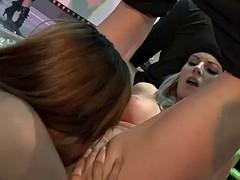 a strip club orgy with gorgeous women
