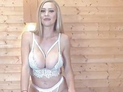 Blonde British Babe Plays Her Big Tits and Cunt