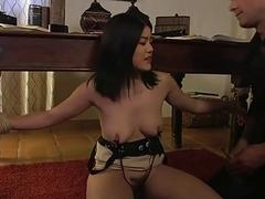 Asian slut tied and fucked up the hairy cunt BDSM
