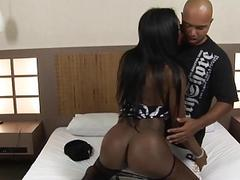 Exquisite ebony shemale has a black dude ride her dick