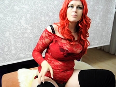Big breasted redhead milf in lingerie has a passion for cock