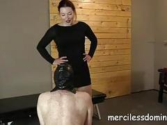 Chubby slave boy gets spanked by his BDSM sex mistress