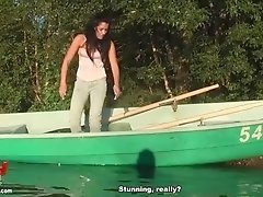 Black guy fucked her in a boat