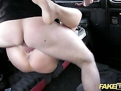Fur coat babe fucked in the back of his cab
