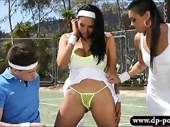 Two tennis players fucked by their coach in open fields