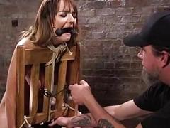 Restrained sub slut destroyed into submission by BDSM dungeon master