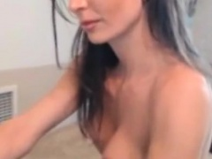 Hot Brunette with Huge Breasts Talks on live-stream in Unde