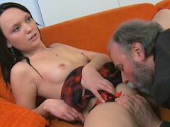 Fascinating young babe gives vehement ride to an old dude