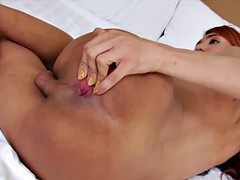 busty redhead tranny is back for a hot solo play