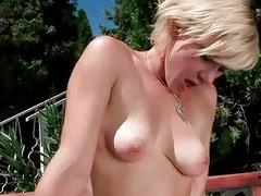 Guy and naughty blonde pissing and fucking outdoor