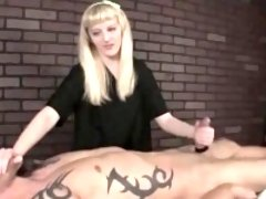 Crystal body massages cock till it gets off