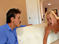 Blonde gets brutalized while her horny hubby watches