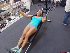 Muscular chick spreads pussy for cash