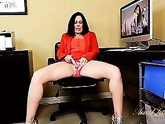 Slutty miniskirt on a milf masturbating at work