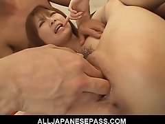 Rika Sakurai  Japanese beauty shows off her spread pussy