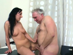 Delicious young sweetie enjoys rear fuck with old guy