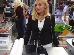 Blonde MILF pawns her pussy to earn cash