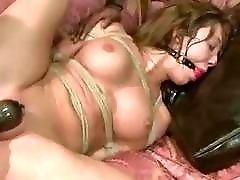 Perverted slut Amy Brooke in hardcore BDSM gangbang with deviants