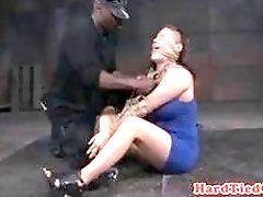 BDSM slave slut has interracial bondage sex with perverted master