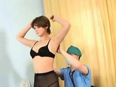 Perky brunette naked for the doctor