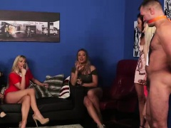 CFNM British girls giving lucky amateur guy blowjob