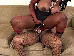 a lesbian moment between thick ebony beauties