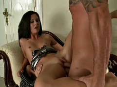Hot milf in sexy lingerie double penetration for a big cock