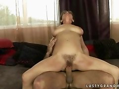 Sexy hairy grandma getting fucked hard