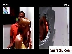 Gloryhole girl talks straight guy into a gay blowjob with black guy