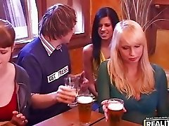 Drunken sex orgy with hot chicks undressing and dancing in the bar