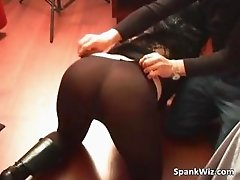 Very hot girl has sexy ass in pantyhose