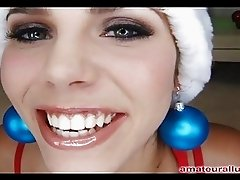 Sexy Christmas Babe Sucks And Fucks For Semen