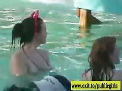 Outdoor Pool party ends in Public Orgy