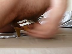 Cum in wifes white high heel sandal