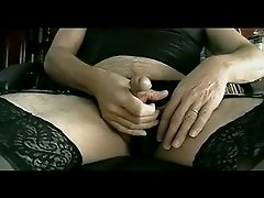 Panty Boy Stroking In All Black Lingerie &amp;amp; Panty - Part III